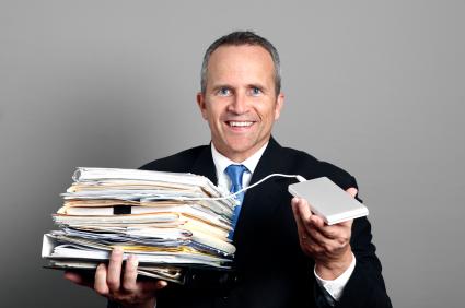 Businessman Going Paperless